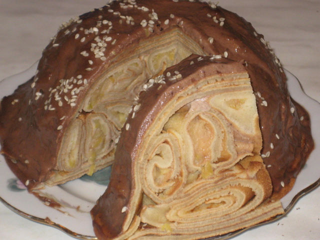 Торт блинный с заварным кремом